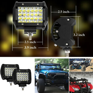 2x 4'' Quad Row Flood Lights Off-road SUV Spot Fog Driving Lamp For Chevy Hummer