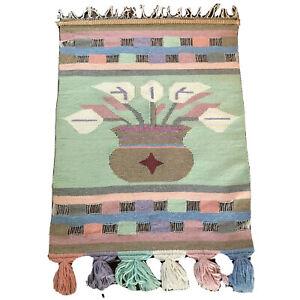 Vtg Wall Hanging Woven Fiber Art Tapestry Pastel Plant Weaving Textile MCM Boho