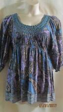 ONE WORLD~Turquoise Purple Black Multi~Floral Paisley~Embellished Top~L~NWOT