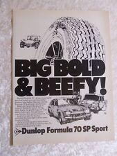 DUNLOP FORMULA 70 SP SPORT TYRE 1972 POSTER ADVERT READY FRAME A4 C