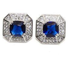 4CT Blue Sapphire & Topaz 925 Solid Sterling Silver Earrings Jewelry