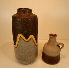 2 Vasen VEB Haldensleben/ Strehla Lava Keramik DDR grau braun Vintage 70er