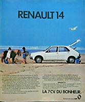 PUBLICITÉ DE PRESSE 1976 LA RENAULT 14 LA 7 CV DU BONHEUR