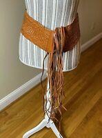Women's Wide Woven Belt Genuine Leather Fringes Women's festive S/M rare