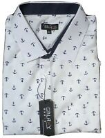 Galaxy by Harvic Mens White Anchors Button Flip Cuff Shirt Size Large New