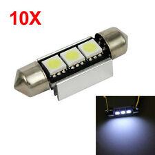 10pcs White LED 3-SMD 39mm Error Free Canbus Festoon Car License Plate Lights