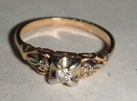 VINTAGE ANTIQUE 14K 14CT 585 GOLD TRILOGY SOLITAIRE DIAMOND RING ART NOUVEAU