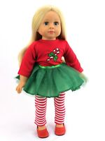 "Candy Cane Tutu Dress Christmas Outfit Fits 18"" American Girl Doll Clothes"