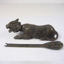 China Handwork Old Bronze Usable Tiger Shaped Lock and Key
