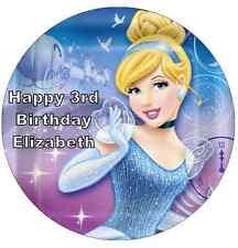 "Disney Princess Cinderella Personalised Wafer Paper Topper For Large Cake 7.5"""