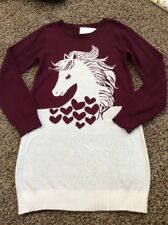 NWT Gymboree Girls Plum Pony Horse Burgundy Cream Sweater Dress Size 10