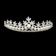 Wedding Prom Bride Tiara Pearl Rhinestone Crystal Crown Headband Headpiece