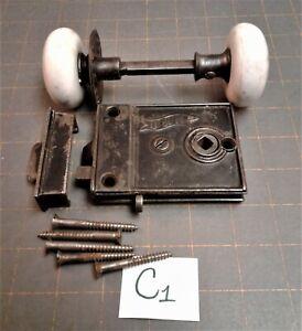 Antique J & N Door Rim Lock House Door Lock Set w/ Catch and Mounting Screws