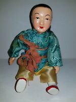 """Vintage Republic Era Composition Oriental Chinese Woman 8"""" Doll & Baby on Back"""