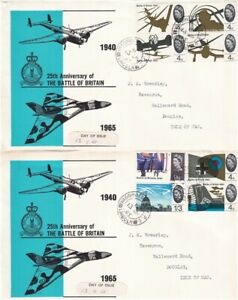 13 SEP 1965 BATTLE OF BRITAIN NON PHOS PAIR OF FIRST DAY COVERS RAF WADDINGTON