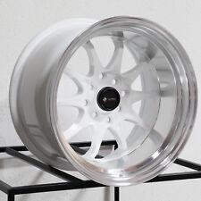 15x9 Vors TR3 4x100/4x114.3 0 White Wheels Rims Set(4)