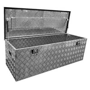 Staubox Alu Riffelbelch 145 x 52 x46 cm Staukiste Deichselbox Metall Staukasten