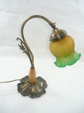 Lampada da tavolo in ottone liberty vetro giallo verde