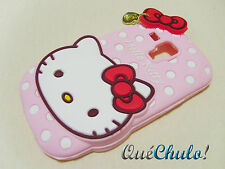FUNDA CARCASA SILICONA PARA SAMSUNG GALAXY S3 MINI I8190 HELLO KITTY ROSA_