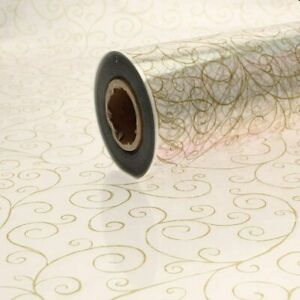 Cellophane Wrap - Gold Scroll Christmas Cellophane for Hampers