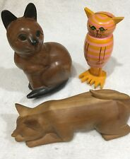 👋L👀K: Solid Brown Wood Cat with Black Ears, Solid Wood Crouching Cat