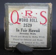 Q R S Player Piano Word Roll 'In Fair Hawaii' by Melba Wirth
