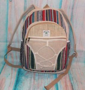 Fair Trade Hemp Backpack Laptop School Bag Hand Made 100% Natural Eco Friendly
