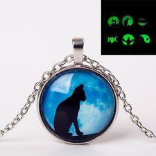 UK GLOW IN THE DARK BLUE MOON CAT PENDANT NECKLACE Jewellery Gift Idea Luminous