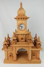 "Large 24"" Tall Wooden Handmade Clock Tower Church Tramp Art 1972 Excellent Cond"