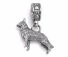 Dog Charm 925 Sterling Silver German Shepherd Paw Print Bead Pendant