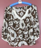 TB07007- THE LIMITED Women's Silk Blouse 3/4 Sleeve Multicolor Floral M MINT