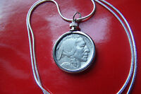 "Original US  Buffalo Nickel Pendant on a 20"" .925 Sterling Silver Snake Chain"