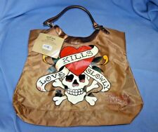 "Don Ed Hardy Large ""Love Kills Slowly"" Tote Bag Brown"