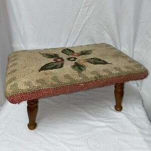 Vintage Step Stool Covered w/ Hooked Handmade floral granny's foot rest