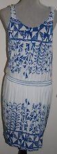 NEW Nurture Womens Sleeveless Print Tahiti Dress SMALL Blue/Ivory 2N04L55  $99.