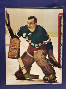 1960s-70s Ed Giacomin Pin-up 4 sided folded poster New York Rangers Vintage 8x11
