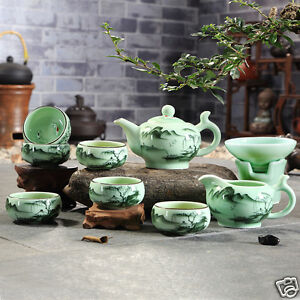 longquan celadon kungfu tea set handpainted underglaze tea pot fish carved cups