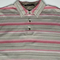 Nike Tiger Woods Collection Men's L Shirt Polo Golf Fit Dry S/S Striped EUC