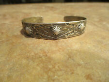 FABULOUS EARLY Fred Harvey Era Navajo Silver STAMPED DESIGN Bracelet   1920's