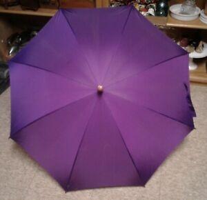 Vintage Totes Purple Umbrella Auto Open Simulated Wood Handle