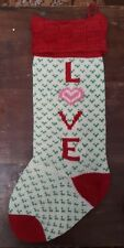 Large Hand Knit CHRISTMAS HOLIDAY STOCKING SOCK COUNTRY CHIC LOVE
