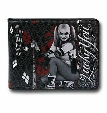 DC COMICS SUICIDE SQUAD HARLEY QUINN LUCKY YOU ALL OVER PRINT BIFOLD WALLET BLK