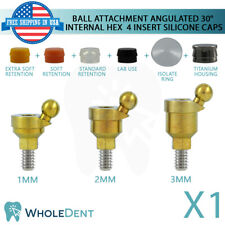 Angulated Ball Attachment 30° 4 Insert Silicone Caps Dental Implant Int Hex