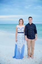 $398 BCBG MaxAzria Katherine Hazel Blue White Pleated Dress Size Medium M 8 10