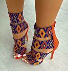 Sexy Women Colorful Strappy Studded Open Toe Stiletto High Heel Platform Sandals