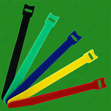 10x Mixed Colour Reusable Hook Loop Cable Tidy Tie Strap Organiser 150mm & 200mm