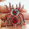 Vintage Style Halloween Spider Red Rhinestone Crystal Silver Tone Brooch Pin