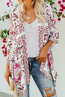 White Pink Floral 3/4 Sleeve Jacket Kimono Beach Cover Up Top One Size Fits 6-12