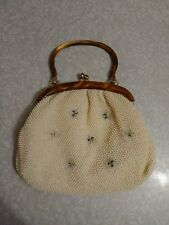 Vintage Plastic Beaded Purse With Tiger Eye Lucite Handle.