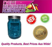 6 x Aussie mason Blue Regular Mouth Pint  Preserving Jars & Lids, Ball mason